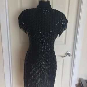 Black Lace Sequined Mock Neck Dress With Keyhole